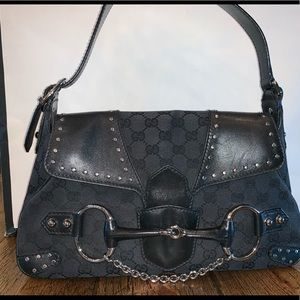 GUCCI Black GG Canvas Horsebit Studded ShoulderBag
